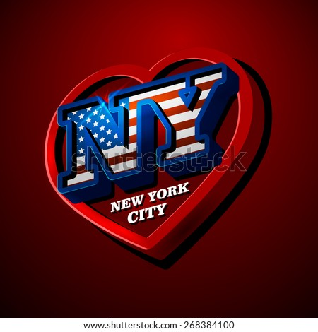 Vector illustration on the theme of Love New York, large letters. - stock vector
