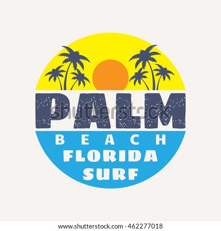 Vector illustration on the theme of surf and surfing in Palm beach, Florida. Typography, t-shirt graphics, poster, print, banner, flyer, postcard