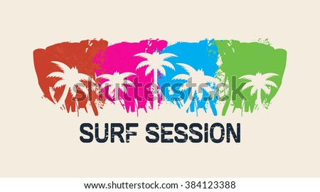 Vector illustration on the theme of surf and surfing. Typography, t-shirt graphics, poster, banner, flyer, postcard