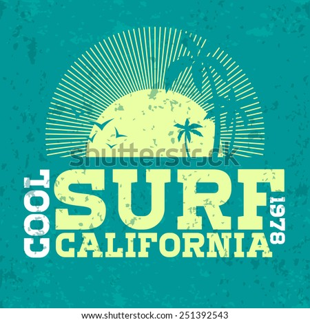 Vector illustration on the theme of surfing in California. print, vintage illustration, emblem, vector
