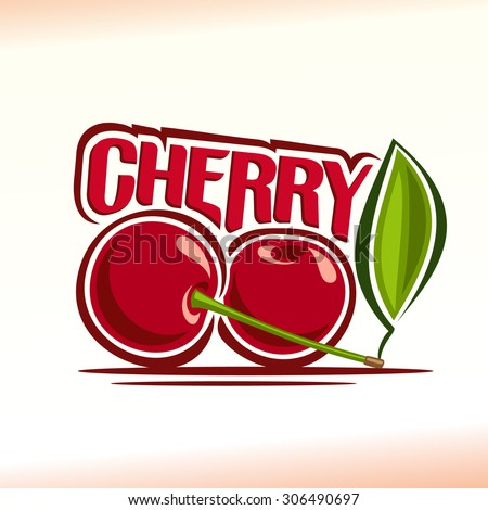 Vector illustration on the theme of the logo for cherry still life composition, consisting of ripe cherry with green leaf. two red berries