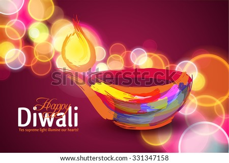 Vector illustration on the theme of the traditional celebration of happy diwali