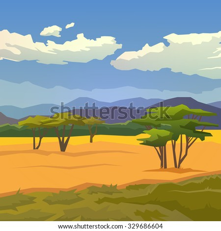 Vector illustration on themes: nature of Africa, safari, noon in Savannah, hunting, camping, trip. African landscape. Modern flat design.