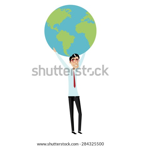 Vector illustration on white background featuring businessman with red glasses and tie holding a globe overhead
