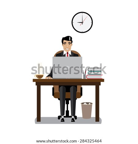 Vector illustration on white background featuring morning, businessman in a good mood with tie and workplace with laptop and coffee - stock vector