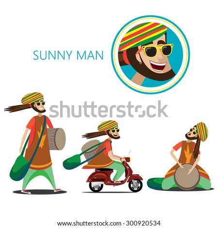 Vector illustration on white background featuring set of three rasta sunny man, walking with drum and bag, riding on a retro scooter, sitting and plays - stock vector