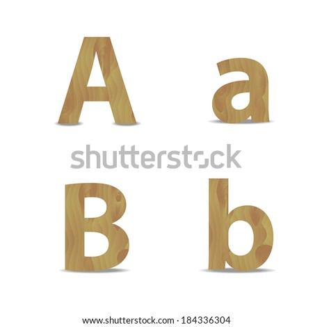 Vector illustration on white of a wood alphabet