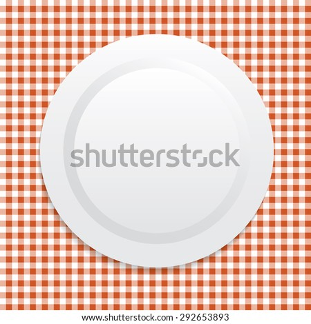 Vector illustration on white plate on red tablecloth
