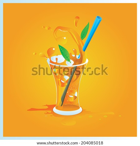 vector illustration one glass of orange juice with ice - stock vector