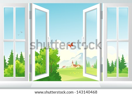 Vector illustration: open window with a landscape view - stock vector