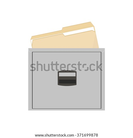 Vector illustration opened card catalog with file folders. Office furniture. Metal filing cabinet. Documents in folder - stock vector
