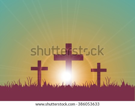 Vector illustration or background with Jesus cross for good Friday