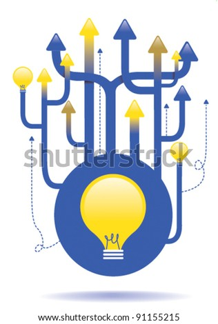 vector illustration or bright or good idea concept 1 - stock vector