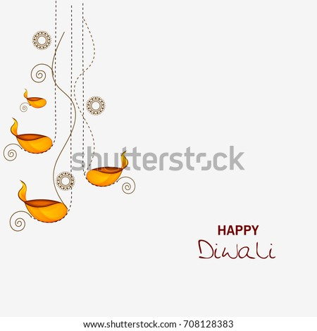 Vector illustration or greeting card for Diwali festival with Diwali elements.