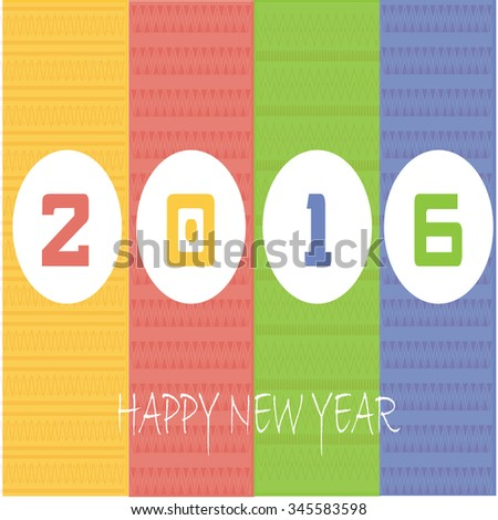 Vector illustration or greeting card for happy new year 2016
