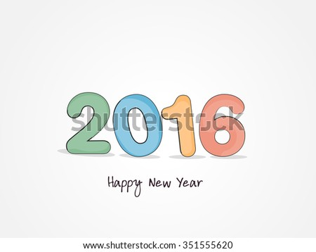 Vector illustration  or greeting card for happy new year 2016 with beautiful text effects and background, year of the monkey.