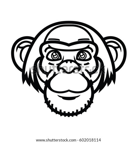 Vector illustration or head logo of monkey head cartoon style for mascot and tattoo or T-shirt graphic