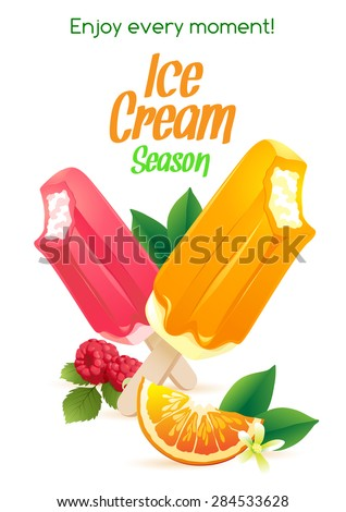 Vector illustration  Orange and raspberry popsicle ice-cream colorful poster - stock vector