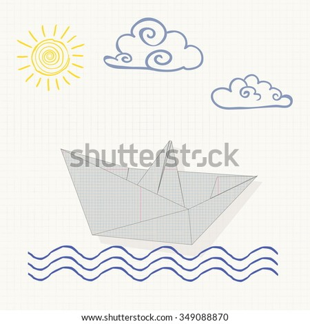 vector illustration origami paper boat