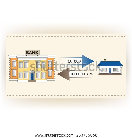 Vector illustration: ?ortgage loan to buy a house. Returns mortgage loan with interest. Infographics: Mortgage loan as a cash flow. Buying real estate in white, yellow, brown, blue colors. - stock vector