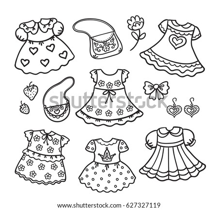 Vector illustration outline dress set summer stock vector for Spring clothes coloring pages
