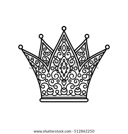 vector, illustration, outline, lace pattern, crown, coloring page, abstract, print