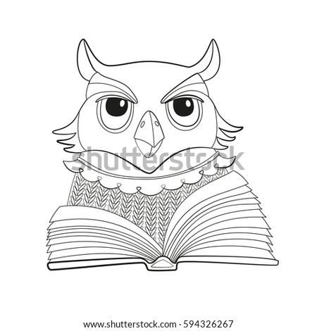 vector owl with open book outline isolated coloring page for kids