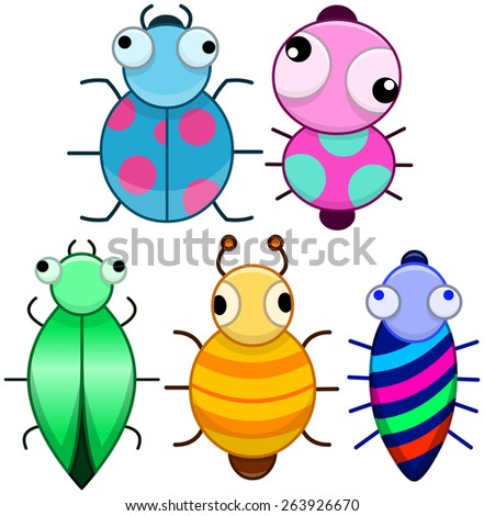 Vector illustration pack of cute colourful cartoonic little bugs.