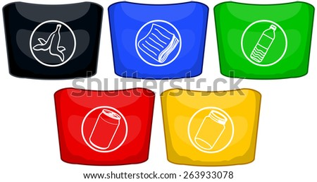 Vector illustration pack of five different trash cans with logo for recycling.