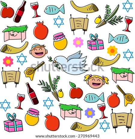 Vector illustration pack of Jewish holiday symbols for Rosh Hashana