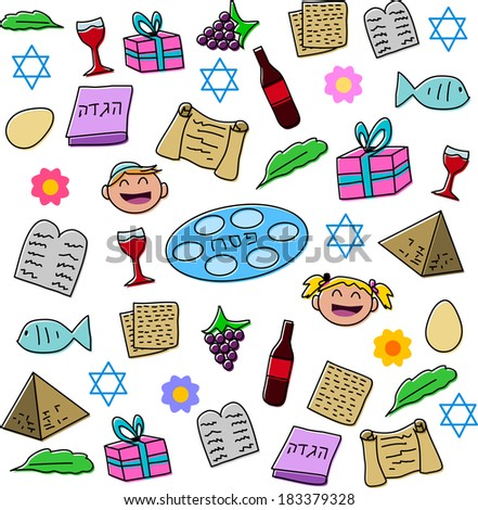 Vector illustration pack of Passover symbols and icons.  - stock vector