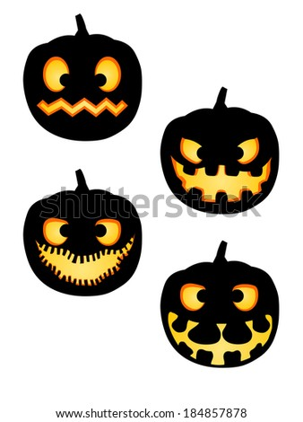 Vector illustration pack of scary Halloween pumpkin silhouettes with various expressions - stock vector