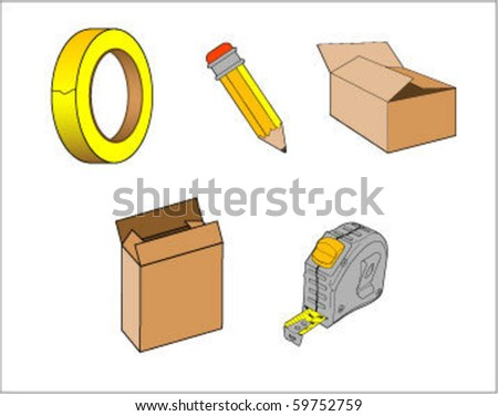 vector illustration packaging materials for storage - stock vector
