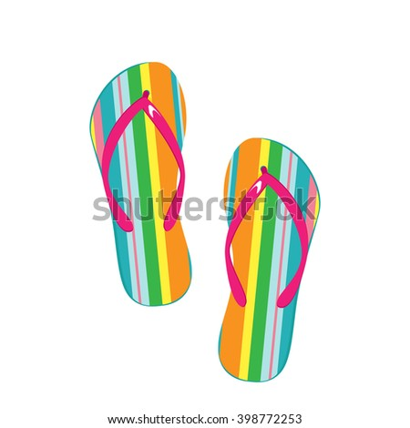 Vector illustration pair of colorful flip flops. Beach slippers icon
