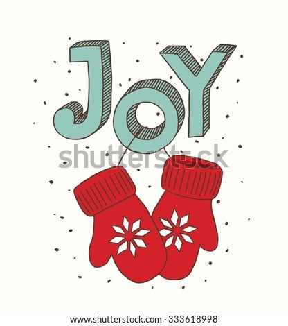 Vector illustration pair of red christmas mittens. Mitten icon. Christmas greeting card with mittens. - stock vector