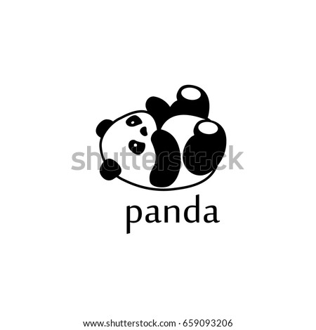 vector illustration panda bear silhouette logo design template panda animal logotype concept icon