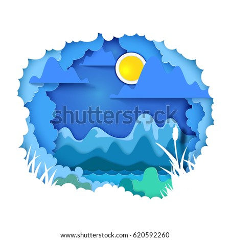 Vector illustration. Paper art and craft style. Cloudy sky appears through layers. Mountains, sun, river - landscape concept. Paper cut for the theme of travel, vacation, adventure. Tunnel book