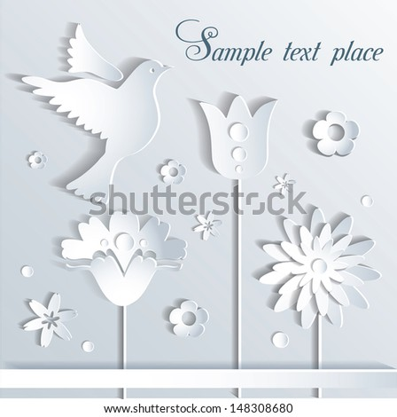 Vector illustration paper flowers and bird - stock vector