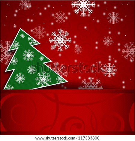Vector illustration: Paper red horizontal background with Christmas tree and snowflake - stock vector