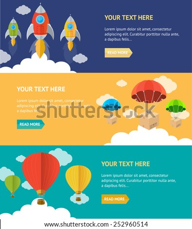 Vector illustration. Parachute, hotair and rocket option banner - stock vector