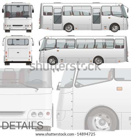 Vector illustration passenger bus (for branding). EPS-8 separated by groups and layers for easy edit. - stock vector