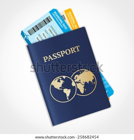 Vector illustration passport with tickets. Air travel concept. Flat Design - stock vector