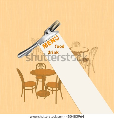 Vector illustration pattern for the fabric cover menu painted restaurant table with fork and knife on a ribbon with the inscription. - stock vector