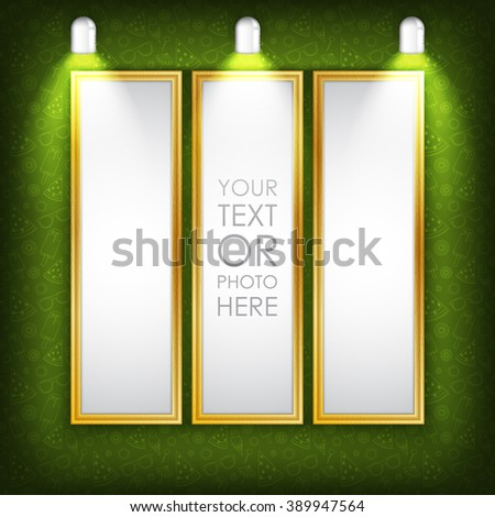 Vector illustration. Photo picture frame with green summer pattern and light lamp. Creative clean photo picture frame for photo, text, advertising, poster, leaflet, banner, web and flyer. Green color. - stock vector