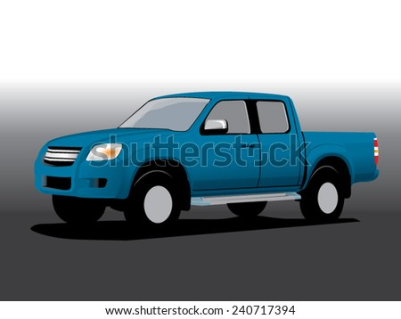 Vector illustration pickup blue - stock vector