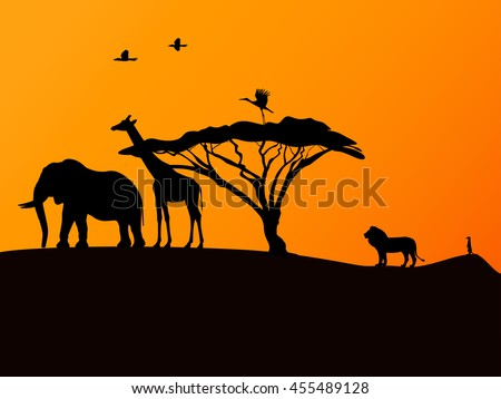Vector illustration picture background African sunset and animals. - stock vector