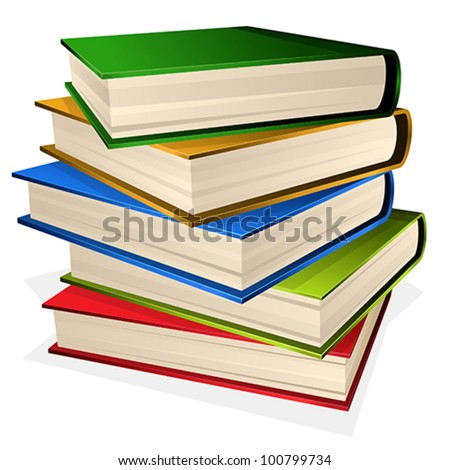 Vector illustration pile of books isolated on white