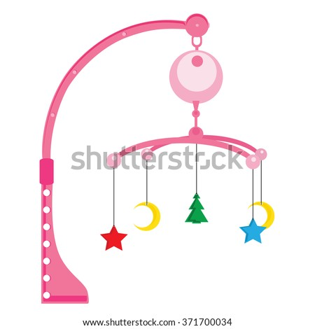 Vector illustration pink pram rattle with star, moon and tree. Baby toy for girls. New baby icon. Baby arrival or shower card - stock vector