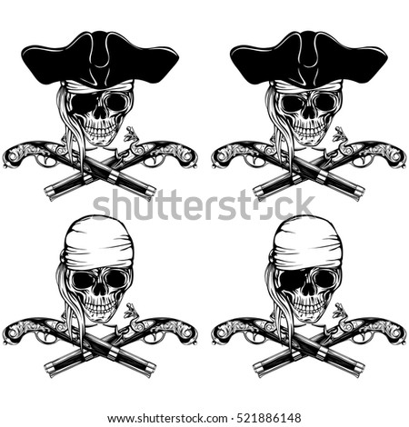 Vector illustration pirate skull bandana or cocked hat and crossed old pistols set