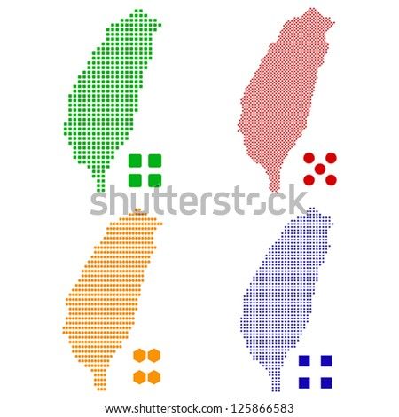 Vector illustration pixel map of Taiwan.